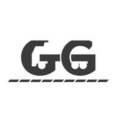 icon letter g truck and arrow negative space vector image