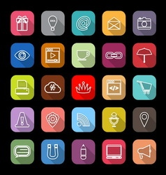 Internet website line icons with long shadow vector