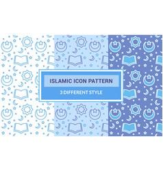 Islamic icon pattern quran open book crescent vector