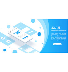 Isometric concept design for an application ui ux vector