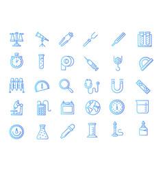Laboratory equipment gradient icons vector