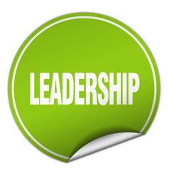 Leadership round green sticker isolated on white vector