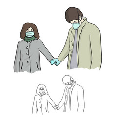Lover with surgical mask and gloves holding hand vector