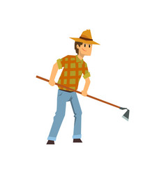 male farmer working with hoe farm worker with vector image