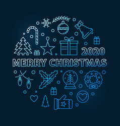 merry christmas 2020 blue modern linear vector image