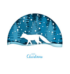 Merry christmas card white fox in the snow vector