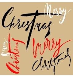 Merry Christmas Lettering Design Set Handwritten vector