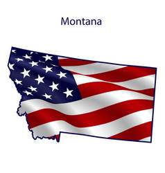 montana full american flag waving in wind vector image