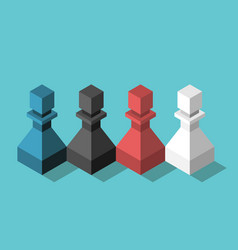 Multicolor chess pawns team vector