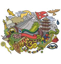 Nepal hand drawn cartoon doodles vector