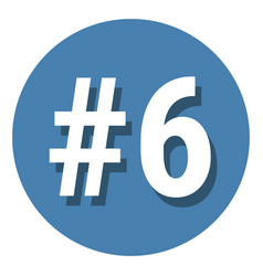 Number 6 six symbol sign in circle 6th sixth vector