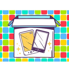 open box with icon of phone on color pat vector image