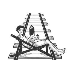 optimistic man on railroad sketch vector image