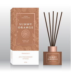 Orange home fragrance sticks abstract label vector