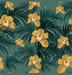 orchid flower and green exotic palm monster vector image