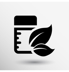 Pill box unlabeled medicine leaf isolated Green vector image