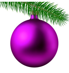pink matte christmas ball or bauble and fir branch vector image