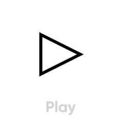play icon editable line vector image
