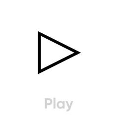 Play icon editable line vector