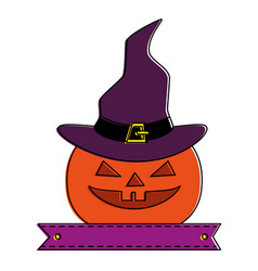 Pumpkin hallooween with hat witch decorative icon vector