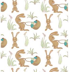 Rabbits ith basket pattern vector