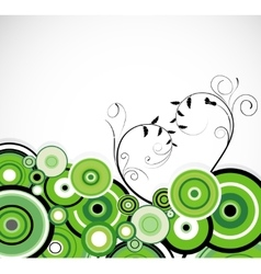 Romantic green rings Floral background vector