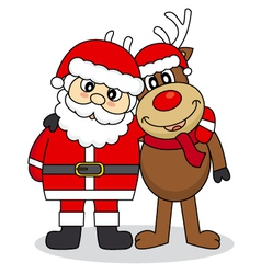 Santa Claus and reindeer friends vector image
