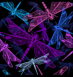 seamless pattern with stylized dragonflies vector image