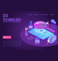 seo technology landing page isometric vector image