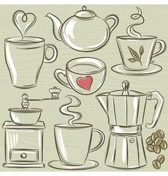 Set cup of hot drink vector