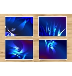 set of blue web banners on wooden background vector image