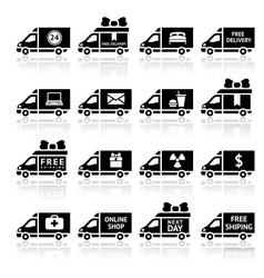 Set of Cargo trucks black icons vector