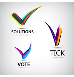 set of tick logos vote vector image