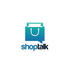 shop talk logo template designs vector image