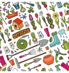 Spring garden doodle seamless patternColored vector image vector image