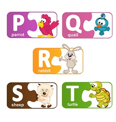 stickers alphabet animals from P to T vector image