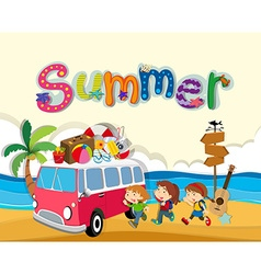 Summer theme with children on the beach vector