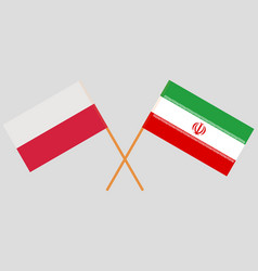 The iranian and polish flags vector