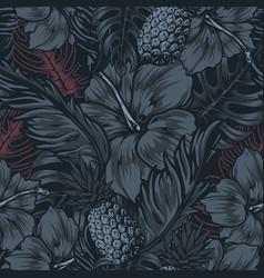 Tropical vintage dark seamless pattern vector