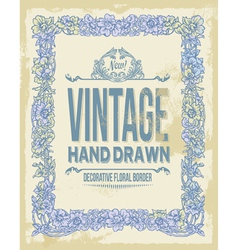 Vintage hand drawn floral decorative border vector image vector image