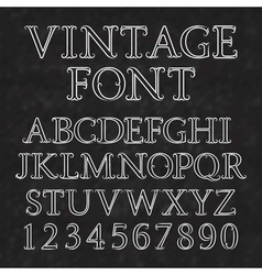 Vintage letters and numbers with flourishes Font vector image