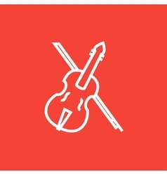 Violin with bow line icon vector