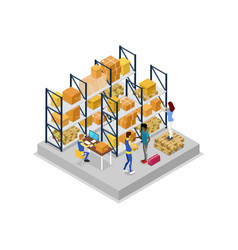 Warehouse interior with workers isometric 3d icon vector