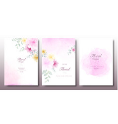 watercolor beautiful floral invitation template vector image