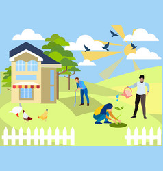 weekend at cottage agronomy the family works vector image