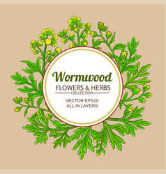 wormwood plant frame on color background vector image