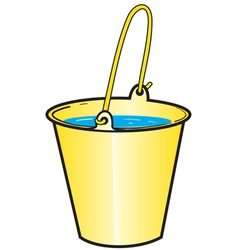 Yellow bucket with water vector