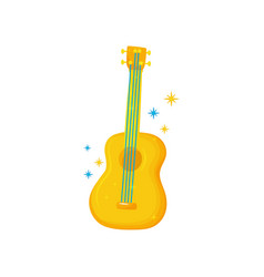 yellow-orange guitar with blue strings musical vector image