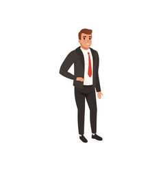 Young businessman in black formal suit man with vector