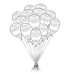 Zen tangle balloon happy birthday zentangle vector